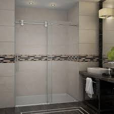 semi framed sliding trackless tub and shower door in chrome with clear glass sc70013 the home depot