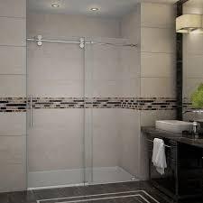 completely frameless sliding shower door in chrome