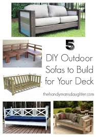 collage of diy outdoor sofa images with text overlay
