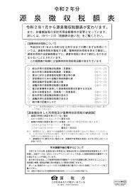 令 和 2 年 源泉 徴収 税額 表