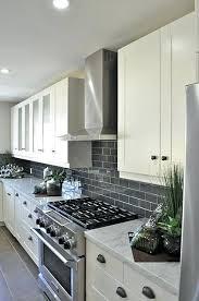 gray subway tile kitchen grey cabinets with backsplash