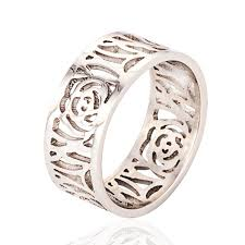 snless steel unique rings with hollow pattern