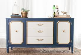 diy furniture makeovers. Navy, White, And Gold Credenza Diy Furniture Makeovers