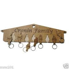 personalised wooden key holder family