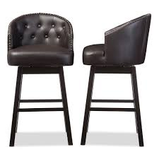 leather bar stools with arms. Avril Brown Faux Leather Upholstered 2-Piece Bar Stool Set Stools With Arms A