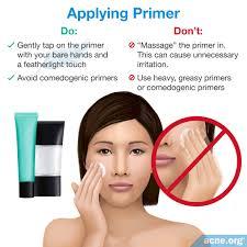 applying primer to acne e skin foundation