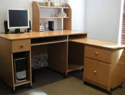 catchy portable light brown wooden attractive office furniture corner desk