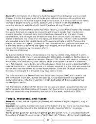 Beowulf Characteristics Of An Epic Hero Chart Doc Beowulf Holt Text Sam Eckstein Academia Edu
