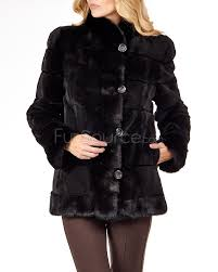layered sheared mink coat with long hair mink trim cuffs