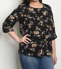 Zenobia Size Chart Details About Womens Plus Size Loose Fitting Black Floral