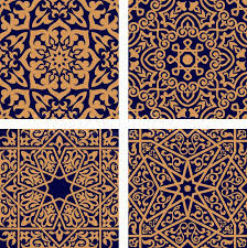 Arabic Patterns Beauteous Geometric Arabic Seamless Patterns With Orange Ornament And