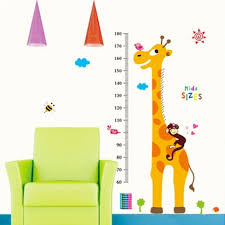 giraffe growth height chart wall sticker