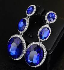 big blue tear drop diamante crystal chandelier earrings stud pierced ears e114 1 of 4free