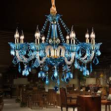 italy vintage blue crystal chandelier led colored cafe bar light for popular home colored chandelier crystals designs