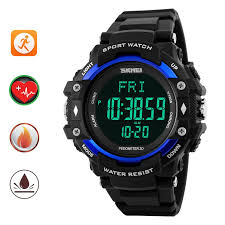 skmei pedometer heart rate monitor waterproof sports watches skmei pedometer heart rate monitor waterproof sports watches calories counter fitness tracker digital watches men black blue lazada