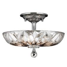 worldwide lighting mansfield collection 4 light chrome and clear crystal ceiling semi flush mount