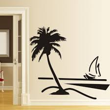 palm tree wall stickers: xcm large vinyl paper wall stickers home decor decal coconut palm tree sailboat decals art decoratooom