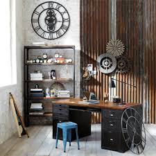 home office wall. Home Office : Designing Wall Decor Rustic Industrial Design Mechanice Modern Looking Desk Style Furniture Ideas Desks Space Chic Look Interior C