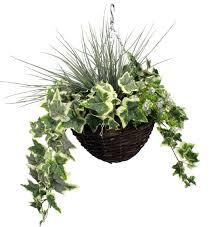 artificial cool green hanging basket