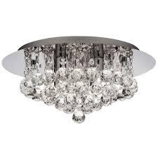 searchlight 4404 4cc ip44 bathroom hanna chrome 4 light semi flush with clear crystal