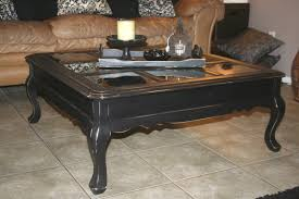 distressed square decigns black rustic coffee table contemporary glass top curve legs furniture wood finishing