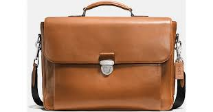 coach metropolitan briefcase in sport calf leather in brown for men lyst
