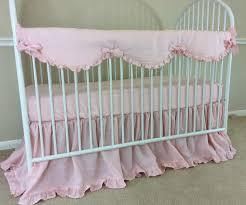 perless crib bedding for baby girl rail guard in natural pink linen linen crib rail guard ruffle crib skirt baby girl bedding