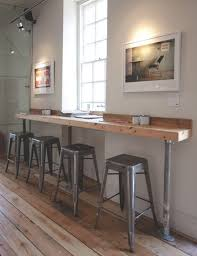do this around side of bar shed small profile close to wall natural slightly dark wood industrial weathered galvenized pipe supports simple attractive coffee bar home 4