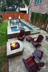 narrow pool with hot tub + firepit - great for small spaces   In ...