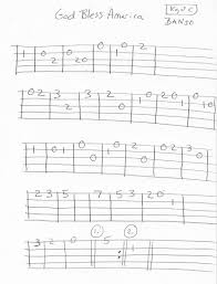 God Bless America Chord Chart God Bless The Usa Traditional Banjo Tab Melody In 2019