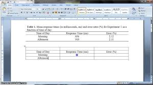 apa template for word 2013 apa formatted table in ms word 2010 youtube