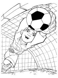 Kleurplaat Keeper Duikt De Bal Uit Zijn Goal Voetbal Kleurplaat