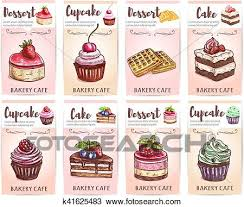 Cafe Desserts Menu Sketched Cupcakes Cakes Tags Clipart
