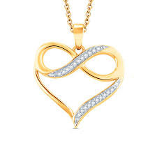 diamond accent heart with infinity pendant in 10k gold