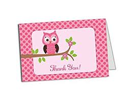 Amazoncom  50 Pink Owl Thank You Cards  Baby Shower  Birthday Owl Baby Shower Thank You Cards