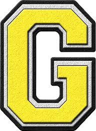 letter g presentation alphabets yellow varsity letter g