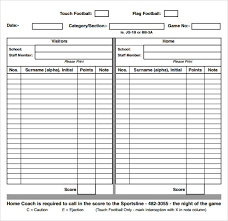 Football Score Sheet Template Threeroses Us