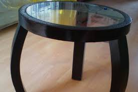 round side table with glass top for