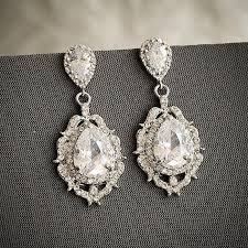 bridal wedding earrings art deco crystal chandelier bridal earrings old hollywood wedding jewelry zirconia teardrop earrings libby