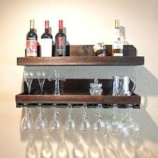 wine glass rack shelf wall mount floating mounted holder wood