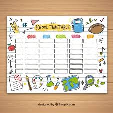 Class Timetable Template Impressive School Timetable Template With Hand Drawn School Objects Free Vector