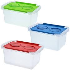 plastic storage bins. plastic storage boxes with hinged lids, 3 qt. bins