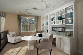 home officeminimalist white small home office. Modern Minimalist Home Office Design With White Color Wooden Desk Combined Cabinet And Leather Chair Arms Plus S Track Lighting Fixtures Ideas Officeminimalist Small F