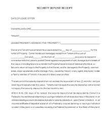 Deposit Templates Security Deposit Receipt Template
