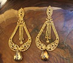 extra long gold chandelier earrings large pageant drum lighting swarovski crystal