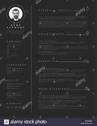Vector Minimalist Dark Cv Resume Template With Nice Typogrgaphy