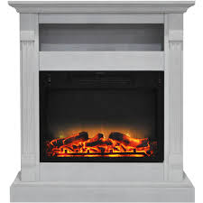cambridge sienna 34 in electric fireplace with enhanced log display and white mantel