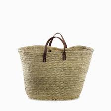 basket with leather handles straw