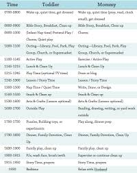 Toddler Schedule Chart Daily Mom And Toddler Schedule Diary Of A Bewildered Mother