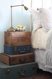 diy decor stacked vintage suitcase nightstand